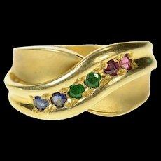 14K Retro Syn. Emerald Ruby Sapphire Criss Cross Ring Size 6.5 Yellow Gold [CQXK]