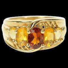 14K Oval Garnet Citrine Graduated Statement Ring Size 6 Yellow Gold [CQXK]