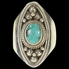 Sterling Silver Navajo Native American Turquoise Statement Ring Size 8.75  [CQXK]
