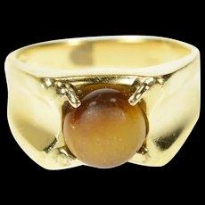 14K 1960's Retro Tiger's Eye Statement Ring Size 8.25 Yellow Gold [CQXK]