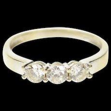 14K Classic Three Stone Simple Wedding Band Ring Size 6 White Gold [CQXK]