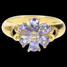 14K Tanzanite Diamond Flower Cluster Statement Ring Size 6 Yellow Gold [CQXK]