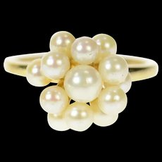 14K Pearl Cluster Classic Statement Ring Size 3.5 Yellow Gold [CQXK]