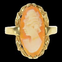 10K Retro Classic Carved Shell Cameo Lady Ring Size 6 Yellow Gold [CQXK]