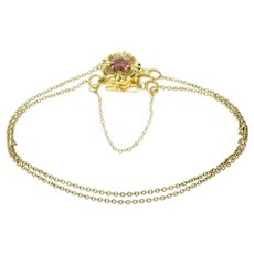 "14K Pink Tourmaline Ornate Double Chain Slide Bracelet 7.75"" Yellow Gold [CQXK]"