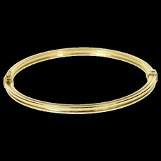 """10K Squared Grooved 3.4mm Oval Bangle Bracelet 7.25"""" Yellow Gold [CQXK]"""