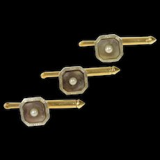 14K Art Deco Mother of Pearl Seed Pearl Tuxedo Stud Cuff Links Yellow Gold [CQXK]