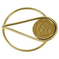 14K 1856 Indian Princess Head $1 Gold Coin Money Clip Yellow Gold [CQXK]