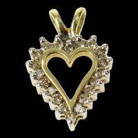 10K Classic Diamond Heart Love Symbol Pendant Yellow Gold [CQXK]