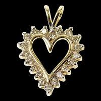 10K Diamond Classic Heart Love Symbol Pendant Yellow Gold [CQXK]