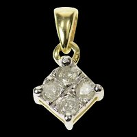 10K Diamond Squared Cluster Classic Pendant Yellow Gold [CQXK]