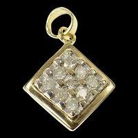 10K Square Diamond Cluster Classic Statement Pendant Yellow Gold [CQXK]