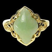 14K Carved Ornate Jade Filigree Statement Ring Size 6.25 Yellow Gold [CQXK]