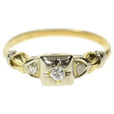 14K 1940's Classic Diamond Promise Engagement Ring Size 5.25 Yellow Gold [CQXK]