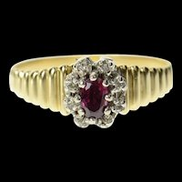 14K Oval Ruby Diamond Accent Halo Grooved Ring Size 8 Yellow Gold [CQXK]