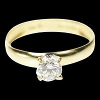 14K Classic Round Travel Engagement Promise Ring Size 8 Yellow Gold [CQXK]
