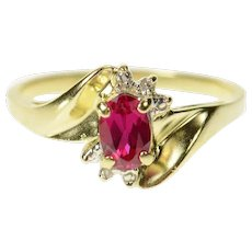 10K Oval Syn. Ruby Diamond Accent Classic Ring Size 6.75 Yellow Gold [CQXR]
