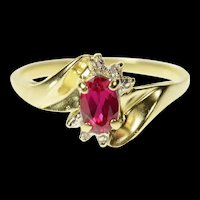 10K Oval Syn. Ruby Diamond Accent Classic Ring Size 6.75 Yellow Gold [CQXK]