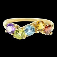 10K Wavy Amethyst Topaz Citrine Peridot Garnet Ring Size 6 Yellow Gold [CQXK]