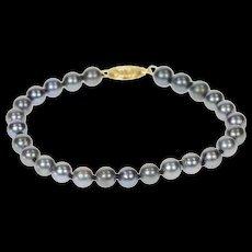 "14K Blue Black Pearl Beaded Classic Bracelet 6.75"" Yellow Gold [CQXK]"