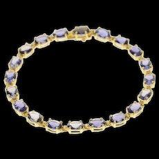 "14K Oval Classic Syn. Sapphire Inset Tennis Bracelet 7"" Yellow Gold [CQXK]"