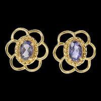 14K Iolite Scalloped Trim Statement Stud Earrings Yellow Gold [CQXK]