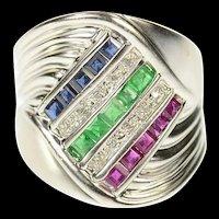 14K Diamond Emerald Ruby Sapphire Wavy Ring Size 8 White Gold [CQXK]