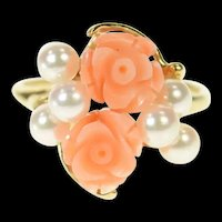 14K Retro Carved Coral Rose Pearl Accent Ring Size 5.75 Yellow Gold [CQXK]