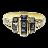 14K Princess Sapphire Diamond Accent Statement Ring Size 7 Yellow Gold [CQXK]