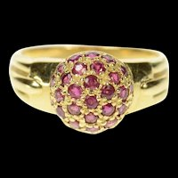 14K Pave Ruby Domed Classic Statement Ring Size 7 Yellow Gold [CQXK]