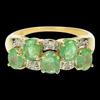 14K Wavy Emerald Diamond Statement Band Ring Size 7 Yellow Gold [CQXS]