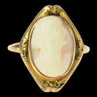 10K Victorian Ornate Carved Shell Cameo Ring Size 5.75 Yellow Gold [CQXS]