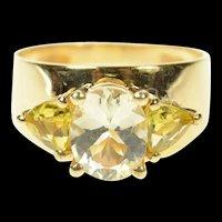 14K Three Stone CZ Citrine Retro Statement Ring Size 7.25 Yellow Gold [CQXS]