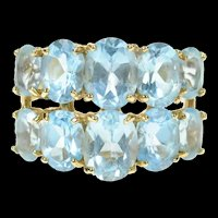 14K Graduated Oval Blue Topaz Tiered Band Ring Size 8.25 Yellow Gold [CQXS]