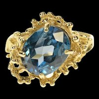 14K London Blue Topaz Textured Abstract Statement Ring Size 8.25 Yellow Gold [CQXS]