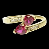 10K Heart Syn. Ruby Diamond Accent Bypass Ring Size 7 Yellow Gold [CQXS]