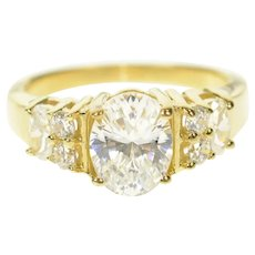 14K Oval Classic Fancy Travel Engagement Ring Size 7 Yellow Gold [CQXS]