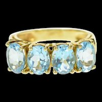10K Oval Blue Topaz Classic Statement Band Ring Size 8.25 Yellow Gold [CQXS]