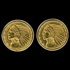 14K 1910 Indian Head Quarter Eagle $2.50 Coin Cuff Links Yellow Gold [CQXK]