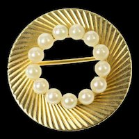 14K Retro Classic Pearl Grooved Swirl Circle Pin/Brooch Yellow Gold [CQXS]