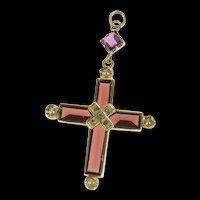 14K Ornate Sim. Garnet Diamond Seed Pearl Cross Pendant Yellow Gold [CQXS]