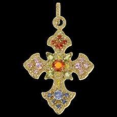 14K Diamond Encrusted Ornate Cross Christian Pendant Yellow Gold [CQXS]