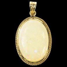 14K Oval Natural Opal Retro Classic Statement Pendant Yellow Gold [CQXS]