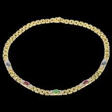 "14K Emerald Ruby Sapphire Diamond Square Chain Necklace 15.25"" Yellow Gold [CQXS]"