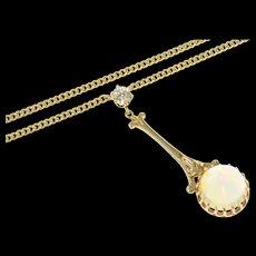 "14K Victorian Opal Diamond Drop Pendant Chain Necklace 17.75"" Yellow Gold [CQXS]"