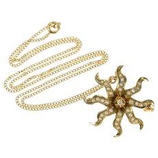 "10K Victorian Seed Pearl Diamond Flower Sun Necklace 16.5"" Yellow Gold [CQXS]"