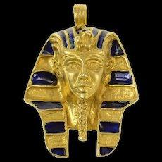 18K Ancient Egyptian Pharaoh Enamel Bust Pendant Yellow Gold [CQXS]