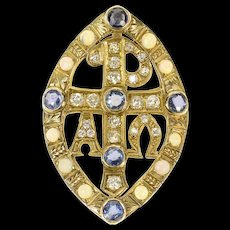 10K Victorian Chi Rho Diamond Opal Sapphire Pendant Yellow Gold [CQXS]