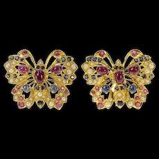 22K Ruby Sapphire Encrusted Butterfly Screw Back Earrings Yellow Gold [CQXS]
