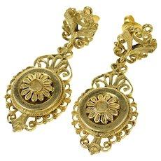 14K Etruscan Ornate Floral Dangle Statement Earrings Yellow Gold [CQXS]